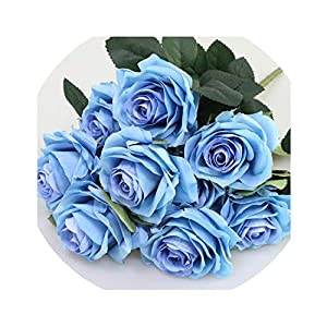 be-my-guest Artificial Silk 1 Bunch French Rose Floral Bouquet Artificial Flower Arrange Table Daisy Wedding Flowers Decor Party Accessory Flores,Dark Blue 101