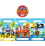 12 Pirate Design Childrens Party Bags / Kids Fillers Gifts Favours Toys Sweets by Party Accessories