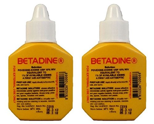 Pack of 2 Betadine Solution Povidone Iodine First Aid Antiseptic Wound Cut Burn 30cc by Betadine
