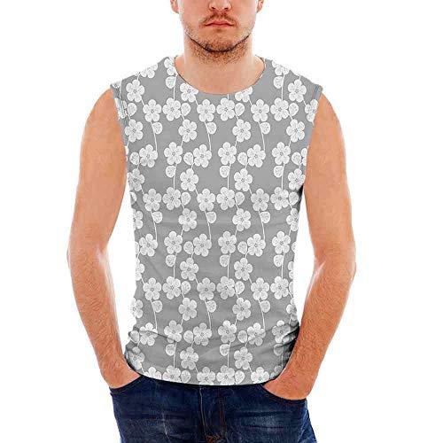 Geometric100% Heavy Cotton H D Tank,Flower Patterned Monochrome Image Petals Bud