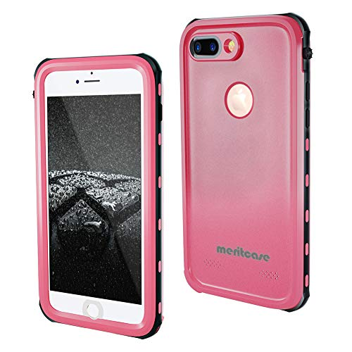 Meritcase iPhone 7 Plus/8 Plus Waterproof Case Built in Screen Protector Full Body Protective Shockproof Cover (Pink)