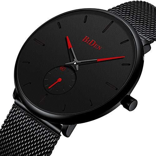Mens Watches Ultra Thin Minimalist Waterproof Wrist Watch Luxury Business Fashion Casual Simple Dress Classic Analogue Quartz Watches - Black Red ()