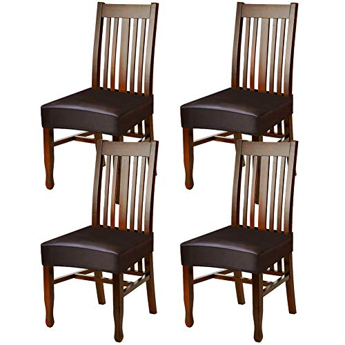 Fuloon Dining Chair Covers,Solid Pu Leather Waterproof and Oilproof Stretch Dining Chair Protctor Cover Slipcover (4 Sets, BNB) (Seat Plastic Dining Chairs Covers For)