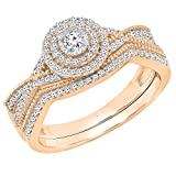 0.35 Carat (ctw) 10K Rose Gold Round White Diamond Ladies Engagement Ring Set 1/3 CT (Size 5)