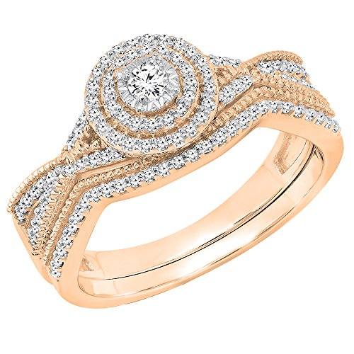 Dazzlingrock Collection 0.35 Carat (ctw) 10K Round White Diamond Ladies Engagement Ring Set 1/3 CT, Rose Gold, Size 5.5