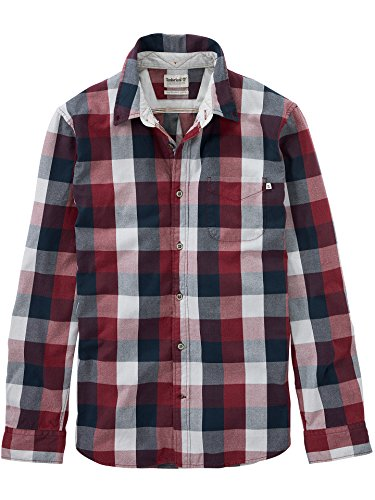 Timberland Men's Back River Brushed Oxford Check Shirt, Eggplant Yd, XLarge - Mens Brushed Check Shirt