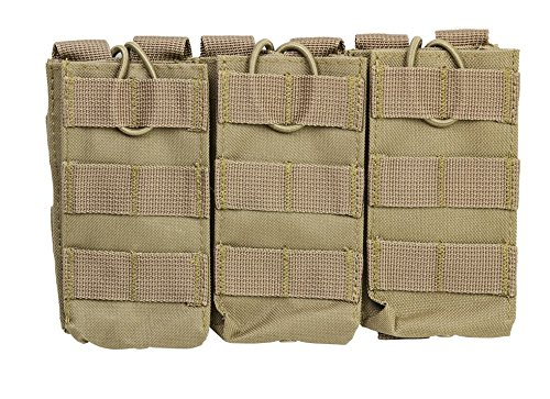 [Ultimate Arms Gear Tan MOLLE PALS Triple Rifle Magazine Mag Pouch For Ruger 10/22 10-22 Mini 14 30 SR-556 SR-22 Rifle] (Mini 14 Magazine)