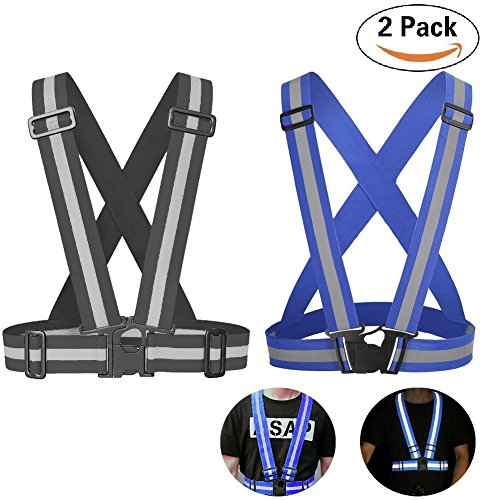 COOLMAX Max-Cool Reflective Vest 2 Pack, Elastic and Adjustable Reflective Gear for Running, Walking, Jogging,Cycling,Motorcycle (Black+Blue)