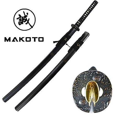 Makoto Hand Forged Razor Sharp Samurai Sword - Shogun Family Crest Warlord Uesugi Kenshin
