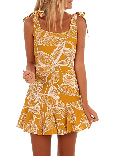 Bulawoo Womens Dress Summer Sun Square Neck Floral Print Boho Sleeveless Straps Ruffle A line Mini Short Dress Small Yellow