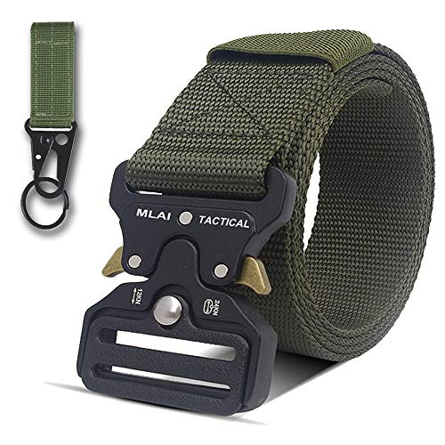 MLAI Tactical Belts for Men Nylon Belt for Men Heavy Duty Webbing Belt Military Belts Style Quick Release Belt with Adjustable Army/Police / Women Kids/Key Ring ()