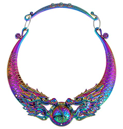 WXART Bohemian Ethnic Necklace Statement Women 2019 Hot Gypsy Vintage Double Dragons Choker Collar Tribe Jewelry Collier (Colorful)