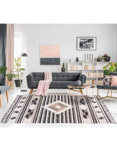 We Rugs Tangier Collection: Modern Bohemian Handmade Flatweave 100% Wool Pink Rug for Home Décor, Easy Care, 4' x 5' 7'' Model 3951