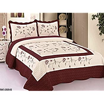 Amazon Com 3pcs High Quality Fully Quilted Embroidery