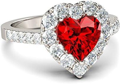 Juego de anillos rojos de compromiso con forma de corazón, anillo de joyería, llavero, anillos de boda, anillo moderno para mujer 6 rosso: Amazon.es: Hogar