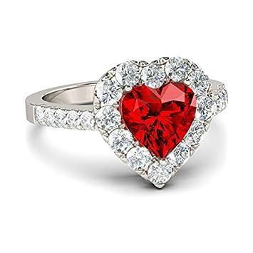 Juego de anillos rojos de compromiso con forma de corazón, anillo de joyería, llavero