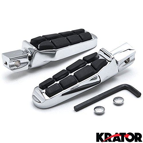 Krator Tombstone Motorcycle Foot Peg Footrests Chrome L&R For Kawasaki Vulcan 900 Custom 2006-2013 Rear (Kawasaki Vulcan 900 Custom compare prices)
