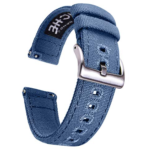 - 22mm Canvas Quick Release Watch Band Blue Replacement Watch Straps for Men Women