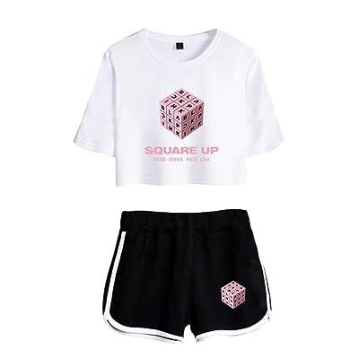 2019 Cool Summer Sport Square Blackpin Fashion Ladies Up T Moda Completi Shirt Manga Corta Y Pantalones Cortos Mujer Tops Pantalones Negro Blanco: Ropa y accesorios