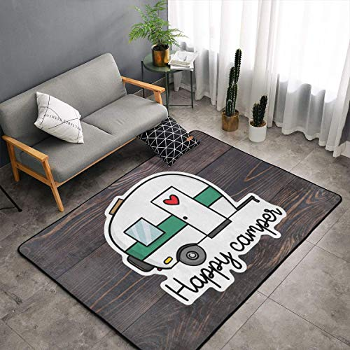 Bedroom Livingroom Sitting-Room Queen Size Kitchen Rugs Home Art - Old Wooden Board Happy Camper Floor Mat Doormats Fast Dry Bathroom Rug Mat Yoga Mat Throw Rugs Runner