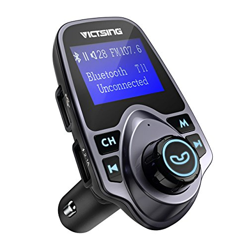 VicTsing Bluetooth FM Transmitter, [Upgraded Version] 120°Rotation Car Radio Kit with 4 Music Play Modes/ Hands-free Calling/TF Card USB Charger/Flash Drive AUX Input/Output 1.44? LCD Display