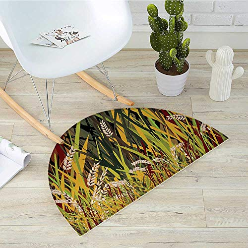 Nature Half Round Door mats Reeds Dried Leaves Wheat River Wild Plant Forest Farm Country Life Art Print Image Bathroom Mat H 35.4