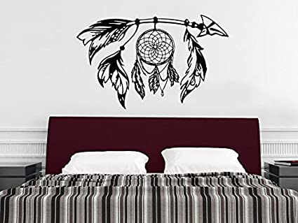 Tribal Arrow Wall Decal Dreamcatcher Dream Catcher Feathers Night ...