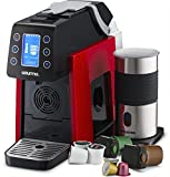 Gourmia GCM5000 One Touch Multi Capsule Coffee Machine, Compatible With Nespresso, K-Cup Pods & More, Built In Milk Frothier, Adjustable Temperature & Size, Digital Display - Red