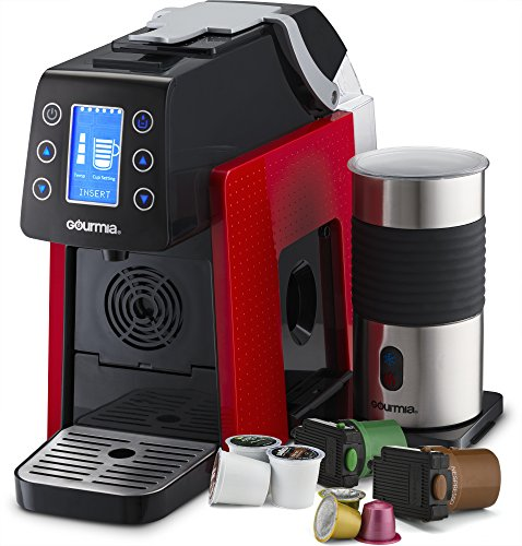 Gourmia GCM5000 One Touch Multi Capsule Coffee Machine, Compatible With Nespresso, K-Cup Pods & More, Built In Milk Frothier, Adjustable Temperature & Size, Digital Display - Red by Gourmia