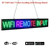 Leadleds 26' Full Color LED Display Board Scrolling Message 7 Colors Text Images, Easy and Fast Programmable by Smartphone, Indoor Use for Advertising, Business, School, Storefront, Car Windows