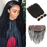 Bleaching Hair Makes It Thicker - Huarisi 9a Indian Hair with Frontal Curly With Baby Hair and Bleached Knots 100% Kinkys Curly Bulk Human Hair With Lace Frontal Natural Color for Women(20 22 24+18, 4x13, Can Be Dyed)