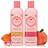 HASK ROSE OIL + PEACH Shampoo and Conditioner Set Color Protecting for all hair types, color safe, gluten free, sulfate free, paraben free - 1 Shampoo and 1 Conditioner