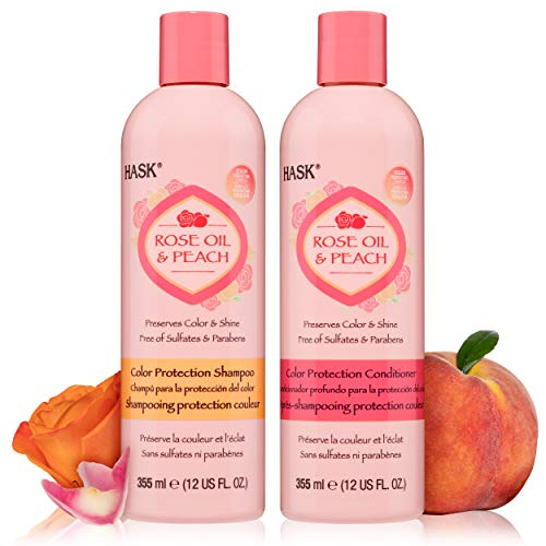 HASK ROSE OIL + PEACH Shampoo and Conditioner Set Color Protecting for all hair types, color safe, gluten-free, sulfate-free, paraben-free - 1 Shampoo and 1 Conditioner