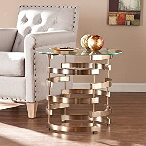 Belmar End Table – Round Tempered Glass Top w/ Chapagne Finish – Metal Frame