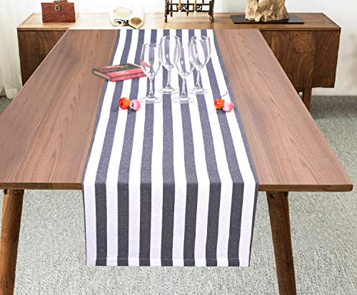 Ramanta Home Classic French Stripe Cotton Table Runner for Family Dinners or Gatherings, Indoor or Outdoor Parties, Everyday Use, Wedding Table Runner-(16x72) Easy Care, Navy White Stripes, 2Pack -