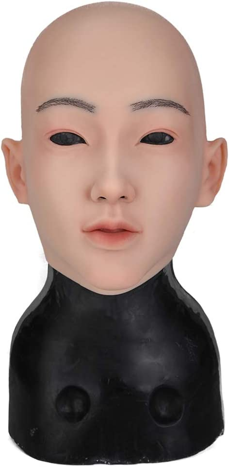 QQA Realistic Silicone Female Head Mask for Transgender Male to Female Cosplay Hand-Made Crossdresser