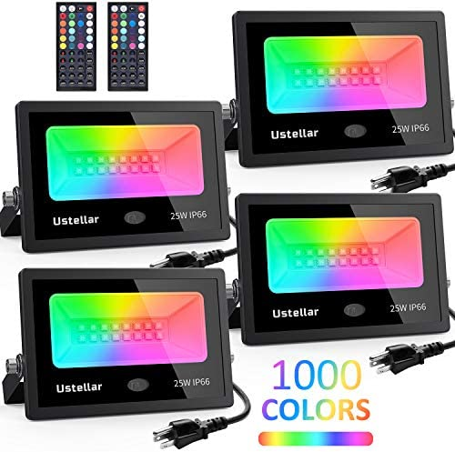 Ustellar 4 Pack 25W RGB LED Flood Lights Color Changing Indoor Outdoor Floodlights Dimmable Remote Waterproof Party Uplighting Landscape led Wall Wash Halloween Lights Uplight Spotlight Stage Lighting