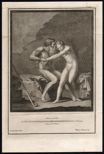 Rare Antique Print-MYTHOLOGY-FAUN-NUDE-BEARD-NYMPH-Morghen-Vanni-c. 1790