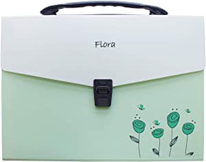 Snail&Hawk Poly Accordion-File-Folders with Handle and Tabs,13-Pockets,A4 Size (Green)