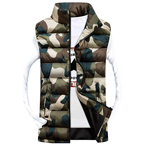 Zipper Waistcoat Vests Green Classico Zhhlaixing Coats Sleeveless Jackets Camouflage Outerwear Men's qCtXn7Tw