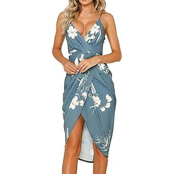3da22af0fbe61 Elogoog Women's Wrap V Neck Spaghetti Strap Floral Split Ruched Beach  Holiday Dresses(Green, S): Amazon.com: Industrial & Scientific