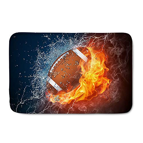 WHEREISART Sports Ball Doormat Welcome Entrance Mat Water Absorbing Shoes Scraper American Football Rugby on Fire and Water Flame Splashing Thunder Doormat Home Decor Gift