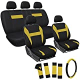 yellow and black car seat covers - OxGord 17pc Flat Cloth Mesh Seat Cover Set - Universal Fit for Car, Truck, SUV, Van - Steering Wheel Cover - Yellow/ Black