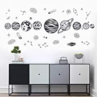 The Solar System Kids Wall Stickers Wall Decals Peel and Stick Removable Wall Stickers for Kids Nursery Bedroom Living Room Black Color