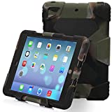 Ipad Case, Ipad Mini Case, Aceguarder® [hot] [new] Shockproof DropProof Soft Silicone Portable Handle Case [Ultra Slim] [Light Weight] Protective Case Cover for iPad mini 3/2/1 (Army Camo/Black)
