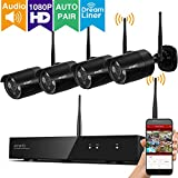 [AUTO-PAIR] xmartO WPS2044 4CH Full HD 1080p (1920 x 1080) Wireless Security Camera System with 4x 1080p HD 2.0 Megapixel Outdoor Wireless IP Cameras (Built-in Router, Reliable Long Range WiFi)