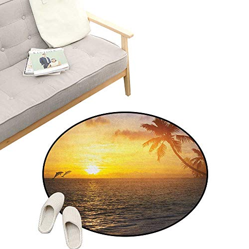 Beach Custom Round Carpet ,Palm Trees in Tropical Island Beach Jumping Fishes and Majestic Sunset Image, Dorm Room Bedroom Home Decorative 23
