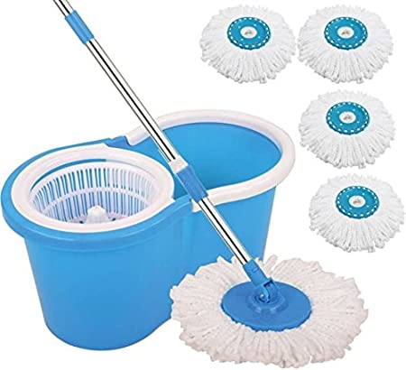 Trade Vast 360 Degree Spinning PVC Mop with Bucket and 4 Rotating Heads