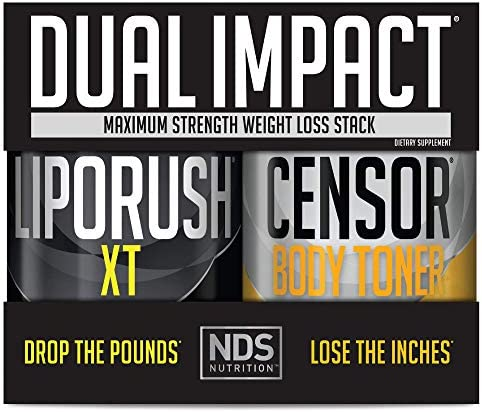 NDS Nutrition Maximum Strength Dual Impact Stack - Complete 2-in-1 Fat Loss Stack Enhanced with Teacrine, L-Carnitine, CLA for Serious Results - Censor 90 Softgels & LipoRush XT 60 Capsules 1
