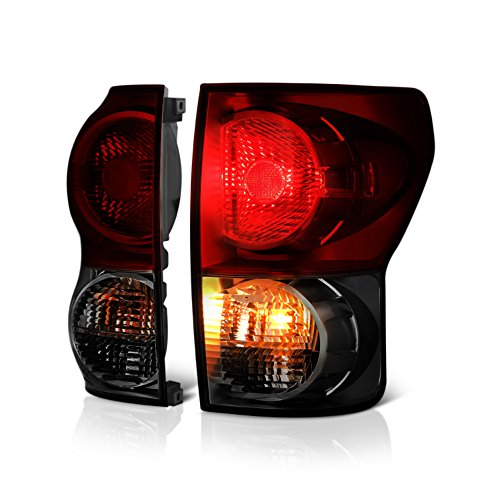 VIPMOTOZ Smoke Red Lens OE-Style Tail Light Lamp Assembly For 2007-2013 Toyota Tundra Pickup Truck, Driver & Passenger Side (Pickup Side Tail Truck Style)
